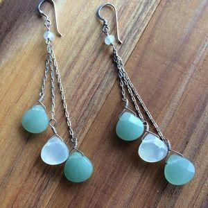 Jade & Chalcedony Triple Chain Earrings